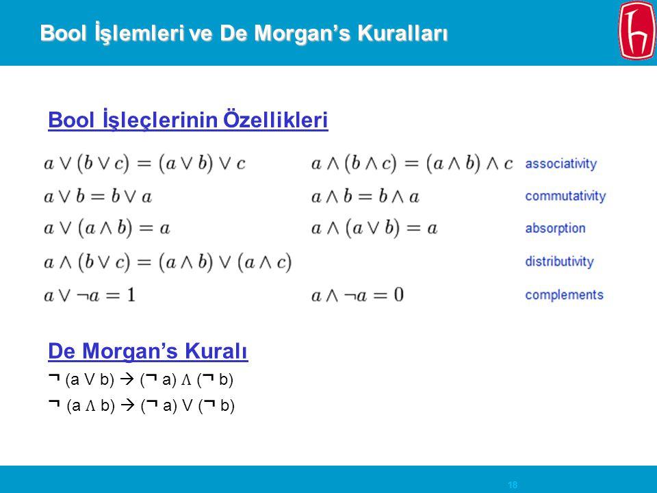 18 Bool İşlemleri ve De Morgan's Kuralları De Morgan's Kuralı ¬ (a V b)  ( ¬ a) ( ¬ b) ¬ (a b)  ( ¬ a) V ( ¬ b) Bool İşleçlerinin Özellikleri