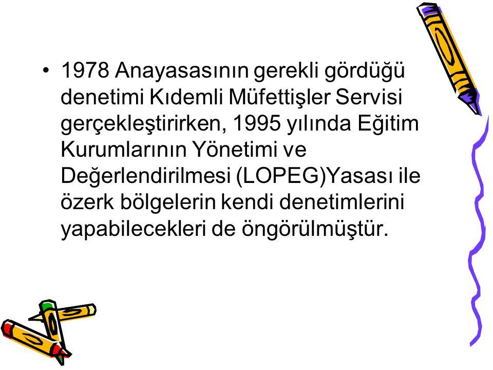 1978 Anayasasının gerekli gördüğü denetimi Kıdemli Müfettişler Servisi gerçekleştirirken, 1995 yılında Eğitim Kurumlarının Yönetimi ve Değerlendirilme