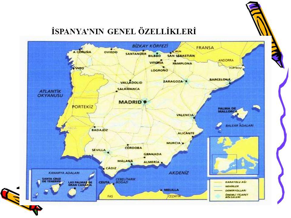 İspanya,güneybatı Avrupa'da, Balear Adalarından Kanarya Adalarına kadar uzanan bir ülkedir.