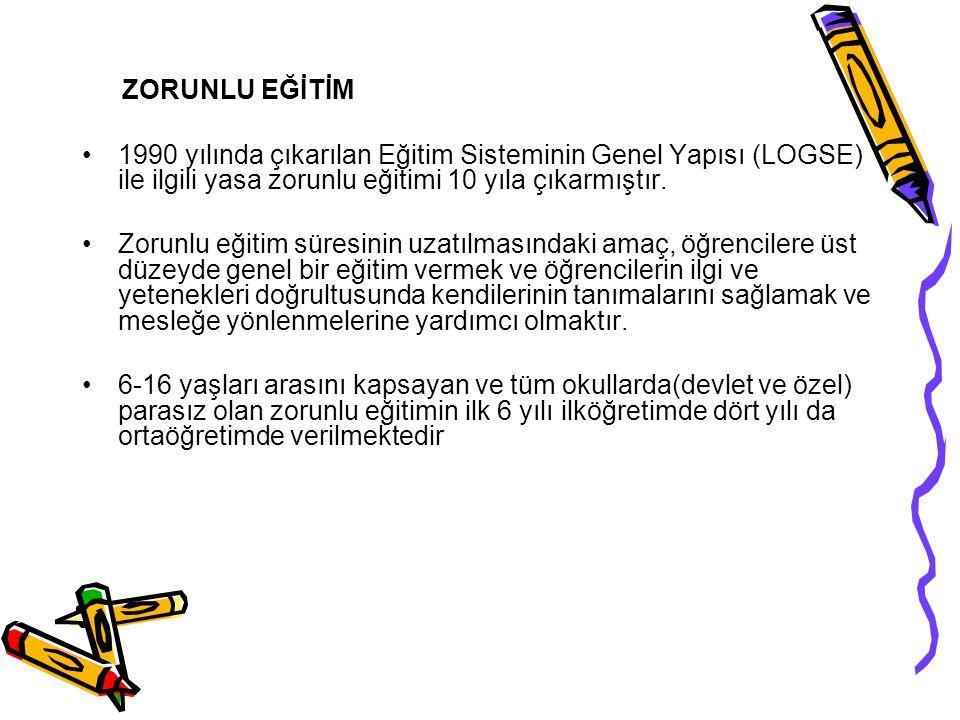 ZORUNLU EĞİTİM 1990 yılında çıkarılan Eğitim Sisteminin Genel Yapısı (LOGSE) ile ilgili yasa zorunlu eğitimi 10 yıla çıkarmıştır. Zorunlu eğitim süres