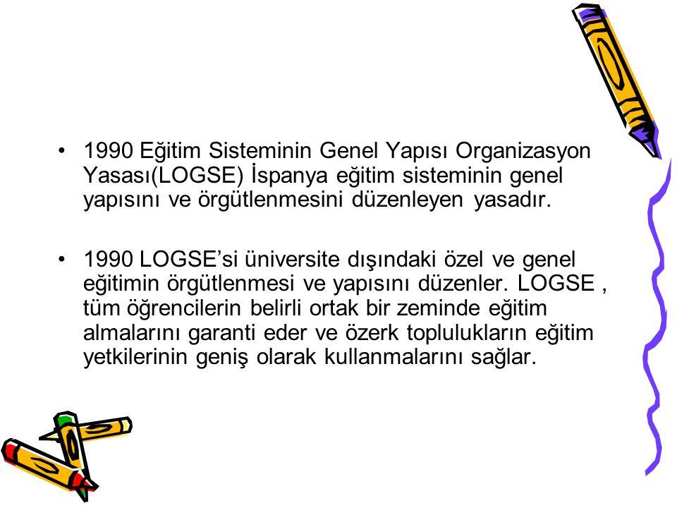 1990 yılında çıkarılan Eğitim Sisteminin Genel Yapısı(LOGSE) yasası ile şekillenmiştir.