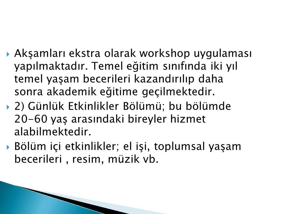  Akşamları ekstra olarak workshop uygulaması yapılmaktadır.
