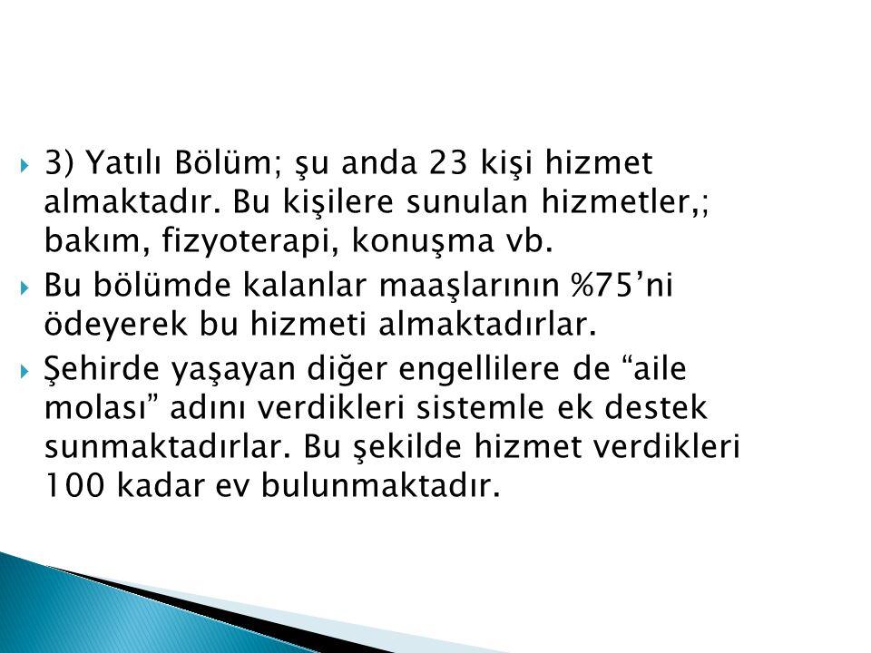  3) Yatılı Bölüm; şu anda 23 kişi hizmet almaktadır.