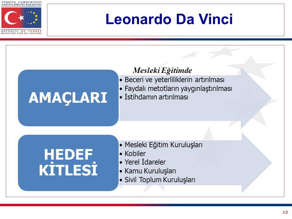 12 Beceri ve yeterliliklerin artırılması Faydalı metotların yaygınlaştırılması İstihdamın artırılması AMAÇLARI Mesleki Eğitim Kuruluşları Kobiler Yerel İdareler Kamu Kuruluşları Sivil Toplum Kuruluşları HEDEF KİTLESİ Mesleki Eğitimde Leonardo Da Vinci