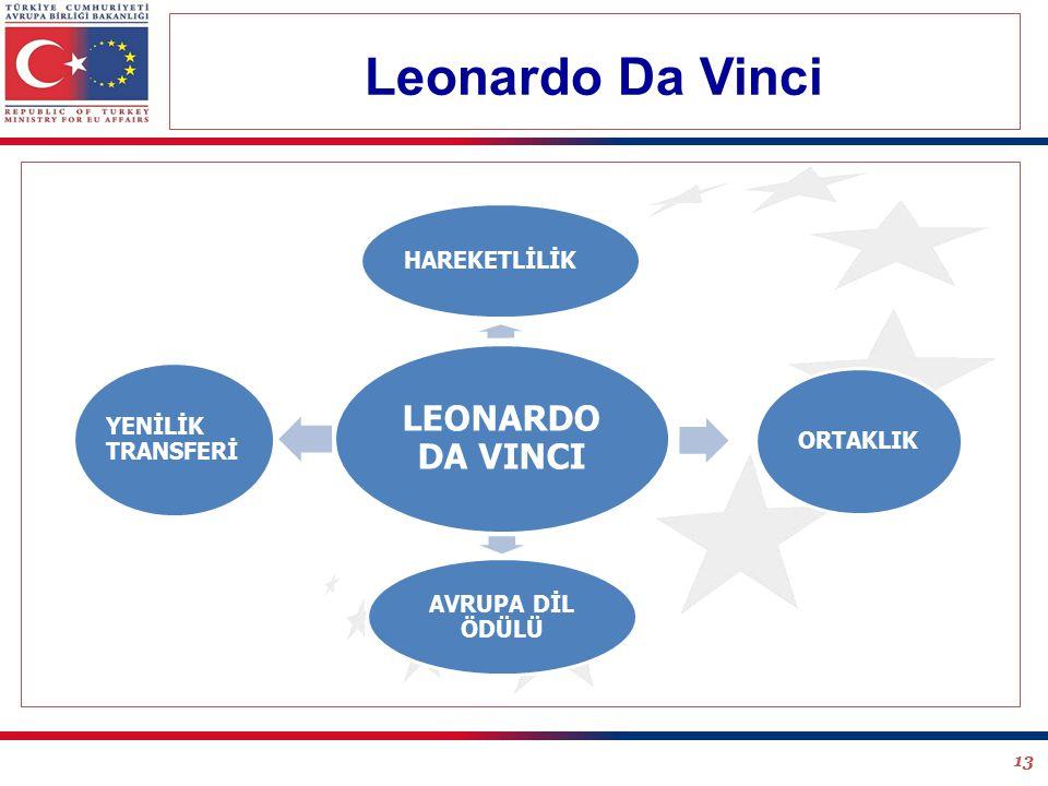 13 LEONARDO DA VINCI HAREKETLİLİK ORTAKLIK AVRUPA DİL ÖDÜLÜ YENİLİK TRANSFERİ Leonardo Da Vinci