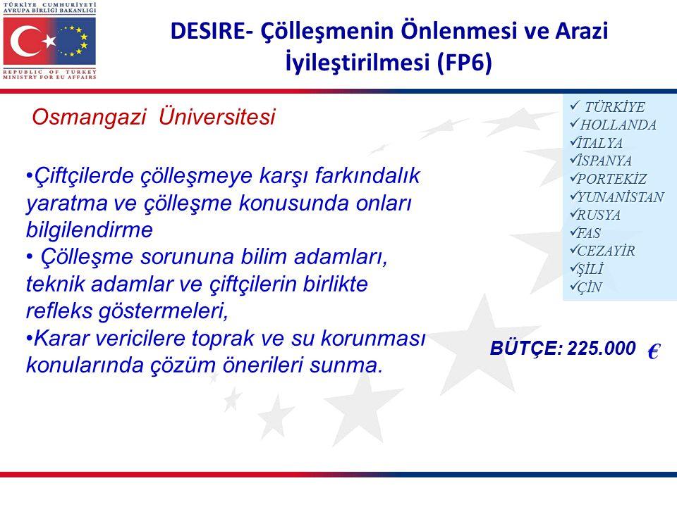 DESIRE- Çölleşmenin Önlenmesi ve Arazi İyileştirilmesi (FP6) Osmangazi Üniversitesi BÜTÇE: 225.000 € TÜRKİYE TÜRKİYE HOLLANDA HOLLANDA İTALYA İTALYA İSPANYA İSPANYA PORTEKİZ PORTEKİZ YUNANİSTAN YUNANİSTAN RUSYA RUSYA FAS FAS CEZAYİR CEZAYİR ŞİLİ ŞİLİ ÇİN ÇİN Çiftçilerde çölleşmeye karşı farkındalık yaratma ve çölleşme konusunda onları bilgilendirme Çölleşme sorununa bilim adamları, teknik adamlar ve çiftçilerin birlikte refleks göstermeleri, Karar vericilere toprak ve su korunması konularında çözüm önerileri sunma.