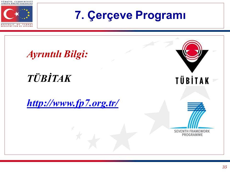 35 7. Çerçeve Programı Ayrıntılı Bilgi: TÜBİTAK http://www.fp7.org.tr/