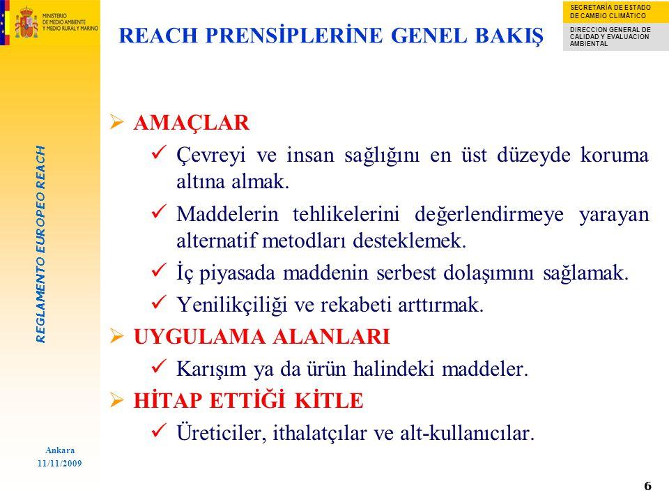 REGLAMENTO EUROPEO REACH SECRETARÍA DE ESTADO DE CAMBIO CLIMÁTICO DIRECCION GENERAL DE CALIDAD Y EVALUACION AMBIENTAL Ankara 11/11/2009 66 REACH PRENSİPLERİNE GENEL BAKIŞ  AMAÇLAR Çevreyi ve insan sağlığını en üst düzeyde koruma altına almak.