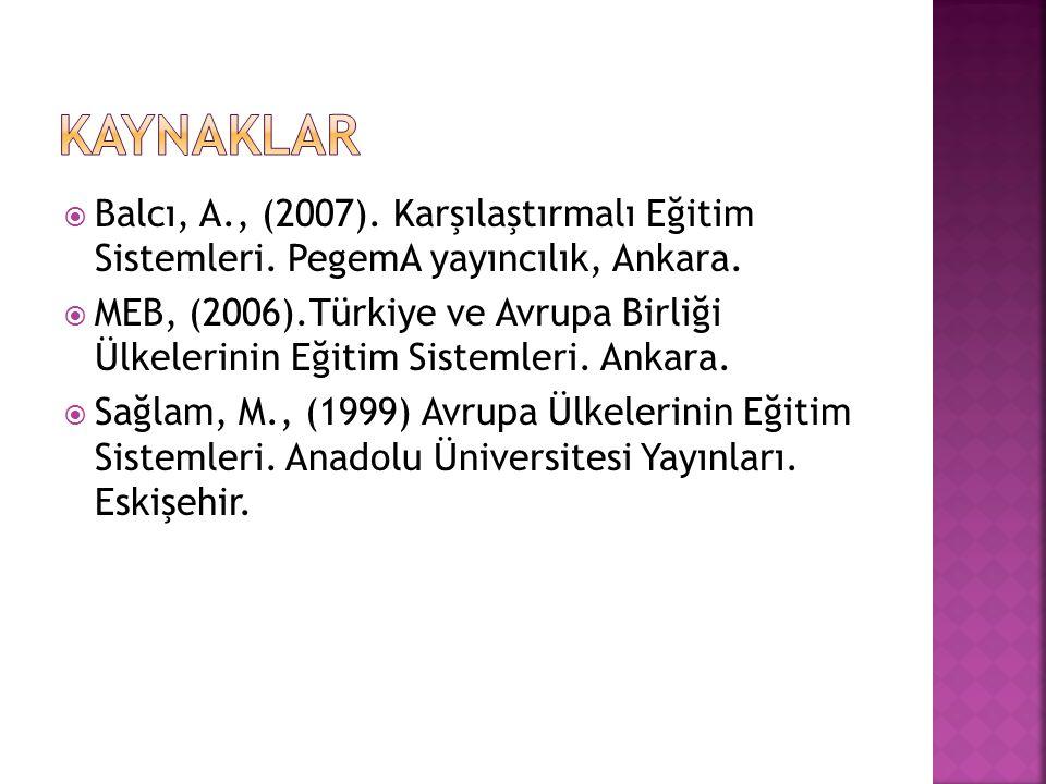  Balcı, A., (2007).Karşılaştırmalı Eğitim Sistemleri.