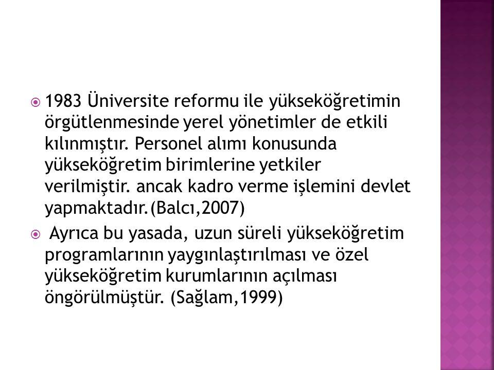 1983 Üniversite reformu ile yükseköğretimin örgütlenmesinde yerel yönetimler de etkili kılınmıştır.