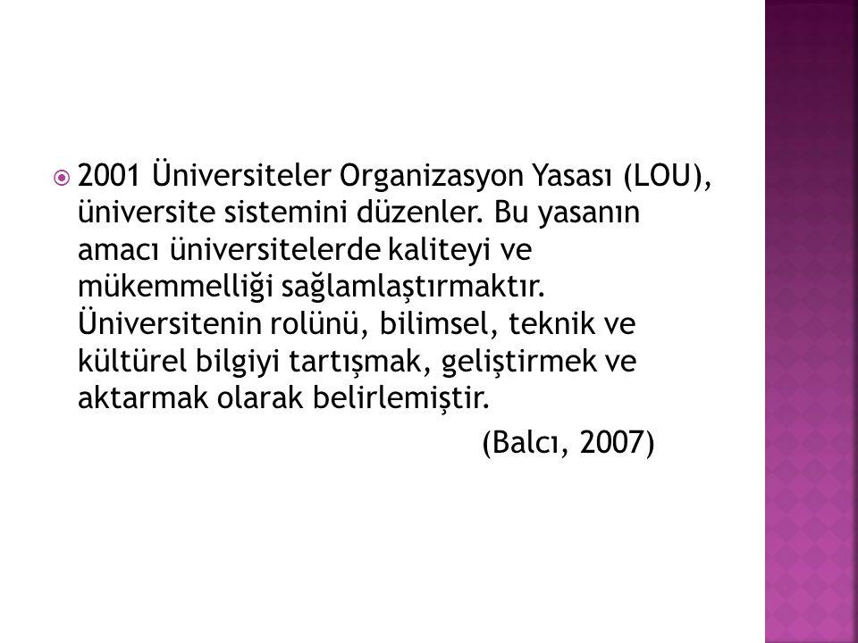  2001 Üniversiteler Organizasyon Yasası (LOU), üniversite sistemini düzenler.
