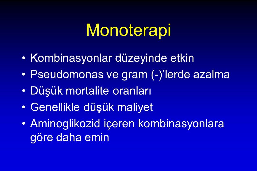 Monoterapi Kombinasyonlar düzeyinde etkin Pseudomonas ve gram (-)'lerde azalma Düşük mortalite oranları Genellikle düşük maliyet Aminoglikozid içeren kombinasyonlara göre daha emin