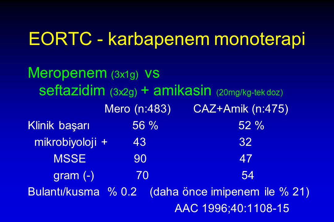 EORTC - karbapenem monoterapi Meropenem (3x1g) vs seftazidim (3x2g) + amikasin (20mg/kg-tek doz) Mero (n:483) CAZ+Amik (n:475) Klinik başarı 56 % 52 % mikrobiyoloji + 43 32 MSSE 90 47 gram (-) 70 54 Bulantı/kusma % 0.2 (daha önce imipenem ile % 21) AAC 1996;40:1108-15