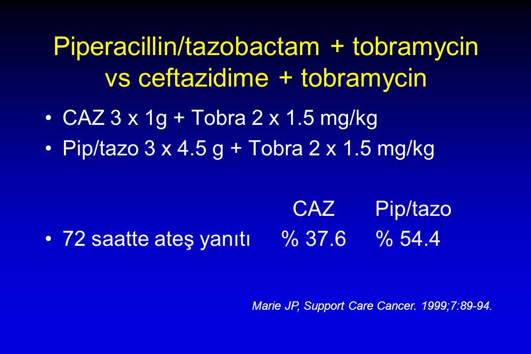 Piperacillin/tazobactam + tobramycin vs ceftazidime + tobramycin CAZ 3 x 1g + Tobra 2 x 1.5 mg/kg Pip/tazo 3 x 4.5 g + Tobra 2 x 1.5 mg/kg CAZ Pip/tazo 72 saatte ateş yanıtı% 37.6% 54.4 Marie JP, Support Care Cancer.