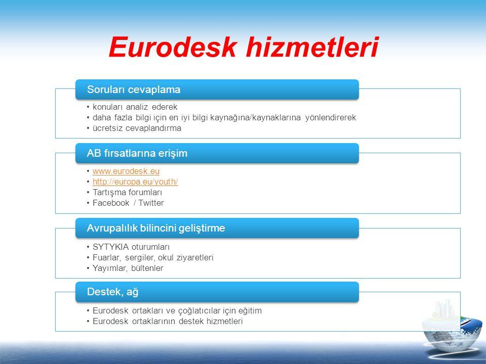 konuları analiz ederek daha fazla bilgi için en iyi bilgi kaynağına/kaynaklarına yönlendirerek ücretsiz cevaplandırma Soruları cevaplama www.eurodesk.eu http://europa.eu/youth/ Tartışma forumları Facebook / Twitter AB fırsatlarına erişim SYTYKIA oturumları Fuarlar, sergiler, okul ziyaretleri Yayımlar, bültenler Avrupalılık bilincini geliştirme Eurodesk ortakları ve çoğlatıcılar için eğitim Eurodesk ortaklarının destek hizmetleri Destek, ağ Eurodesk hizmetleri