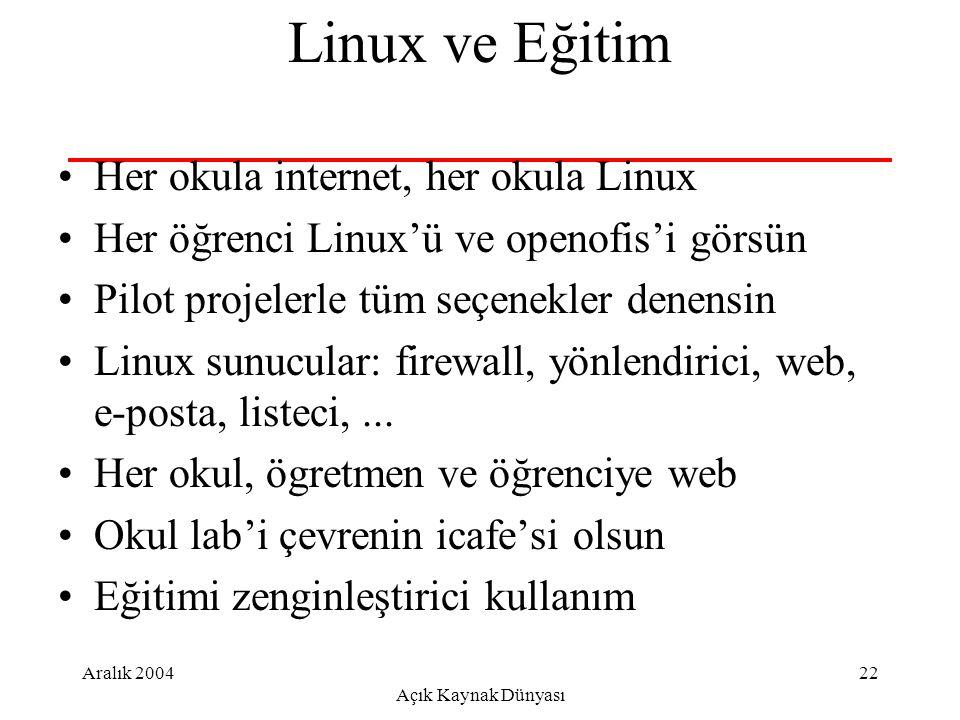 Aralık 2004 Açık Kaynak Dünyası 22 Linux ve Eğitim Her okula internet, her okula Linux Her öğrenci Linux'ü ve openofis'i görsün Pilot projelerle tüm seçenekler denensin Linux sunucular: firewall, yönlendirici, web, e-posta, listeci,...