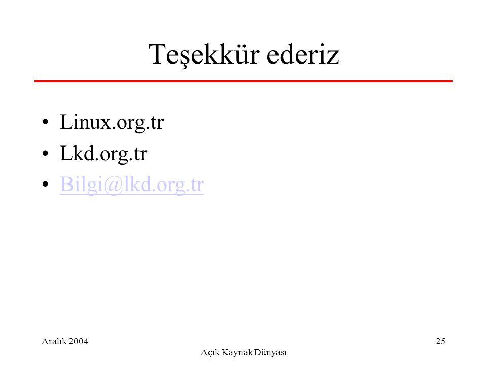 Aralık 2004 Açık Kaynak Dünyası 25 Teşekkür ederiz Linux.org.tr Lkd.org.tr Bilgi@lkd.org.tr