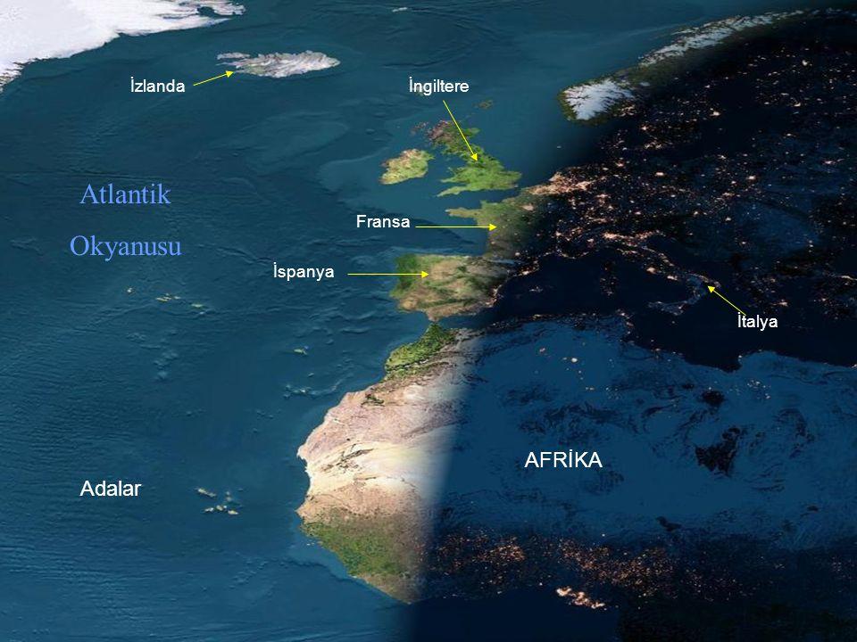 Fransa İspanya AFRİKA İtalya İngiltereİzlanda Atlantik Okyanusu Adalar