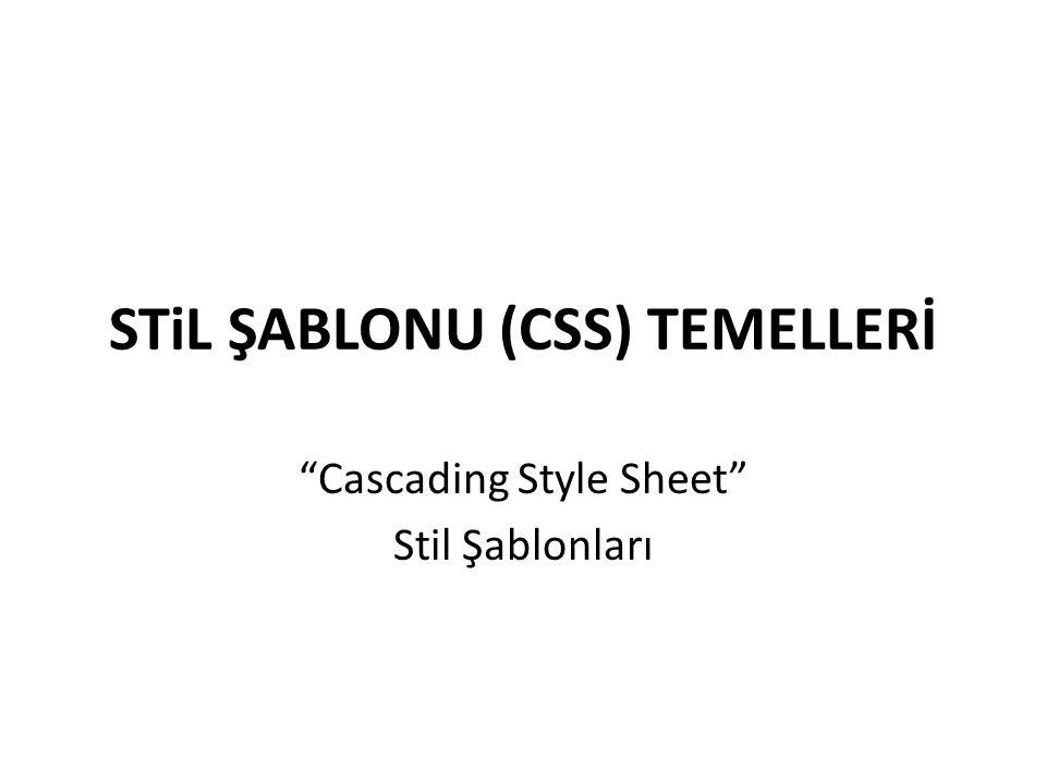 """STiL ŞABLONU (CSS) TEMELLERİ """"Cascading Style Sheet"""" Stil Şablonları"""