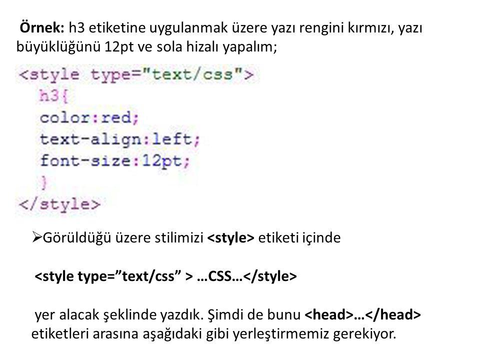 Örnek: h3 etiketine uygulanmak üzere yazı rengini kırmızı, yazı büyüklüğünü 12pt ve sola hizalı yapalım;  Görüldüğü üzere stilimizi etiketi içinde …C