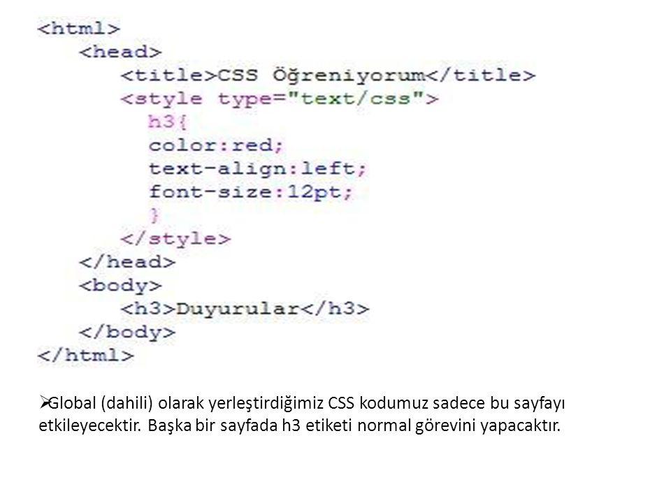  Global (dahili) olarak yerleştirdiğimiz CSS kodumuz sadece bu sayfayı etkileyecektir. Başka bir sayfada h3 etiketi normal görevini yapacaktır.