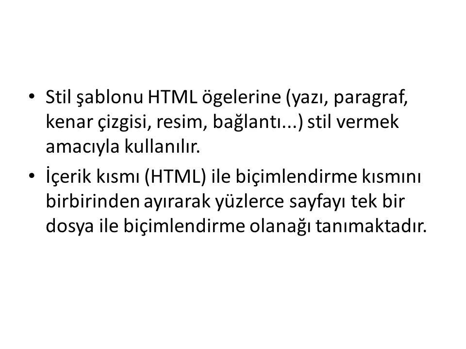 Stil şablonu HTML ögelerine (yazı, paragraf, kenar çizgisi, resim, bağlantı...) stil vermek amacıyla kullanılır. İçerik kısmı (HTML) ile biçimlendirme
