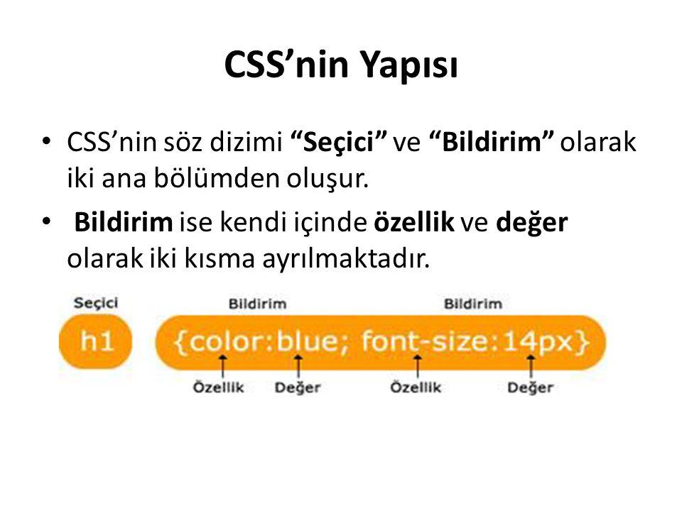 """CSS'nin Yapısı CSS'nin söz dizimi """"Seçici"""" ve """"Bildirim"""" olarak iki ana bölümden oluşur. Bildirim ise kendi içinde özellik ve değer olarak iki kısma a"""