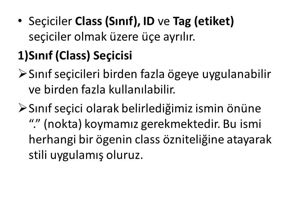 Seçiciler Class (Sınıf), ID ve Tag (etiket) seçiciler olmak üzere üçe ayrılır. 1)Sınıf (Class) Seçicisi  Sınıf seçicileri birden fazla ögeye uygulana