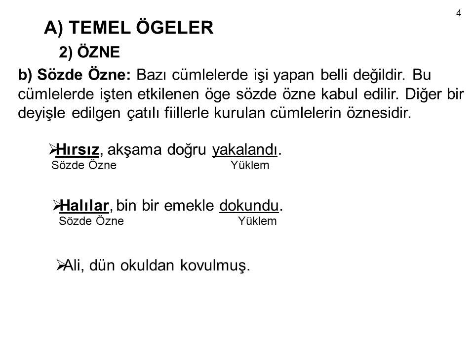 A) TEMEL ÖGELER 2) ÖZNE b) Sözde Özne: Bazı cümlelerde işi yapan belli değildir.