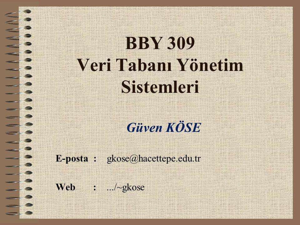 BBY 309 Veri Tabanı Yönetim Sistemleri Güven KÖSE E-posta : gkose@hacettepe.edu.tr Web :.../~gkose
