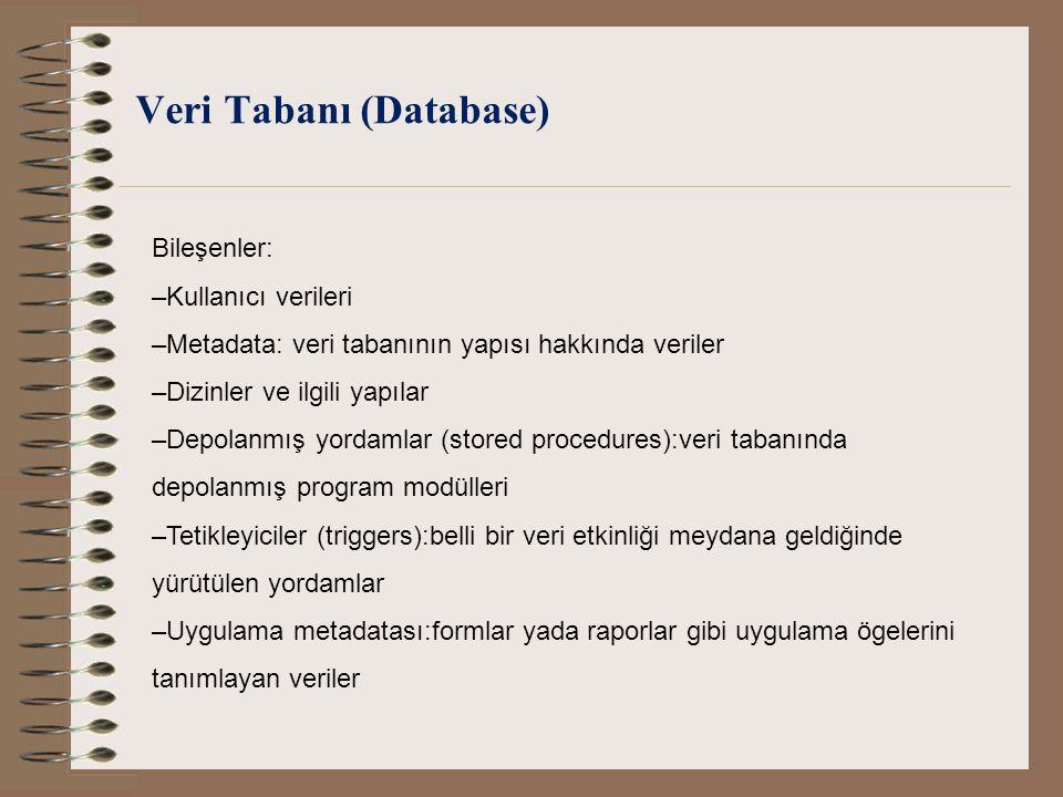 Veri Tabanı (Database) Bileşenler: –Kullanıcı verileri –Metadata: veri tabanının yapısı hakkında veriler –Dizinler ve ilgili yapılar –Depolanmış yorda