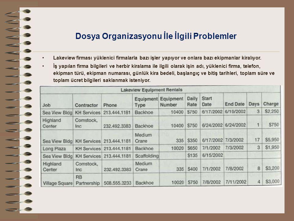 Dosya Organizasyonu İle İlgili Problemler Lakeview firması yüklenici firmalarla bazı işler yapıyor ve onlara bazı ekipmanlar kiralıyor. İş yapılan fir