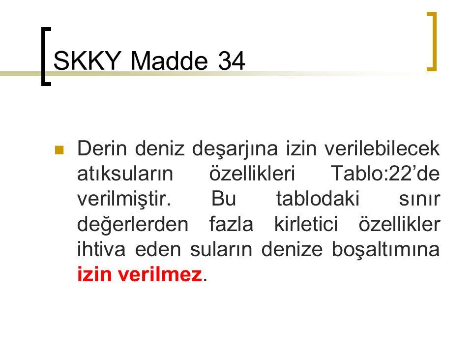 SKKY Madde 34 Derin deniz deşarjına izin verilebilecek atıksuların özellikleri Tablo:22'de verilmiştir.