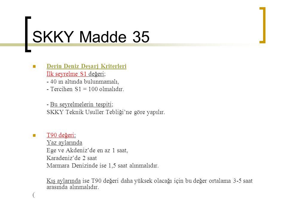 SKKY Madde 35 Derin Deniz Deşarj Kriterleri İlk seyrelme S1 değeri; - 40 ın altında bulunmamalı, - Tercihen S1 = 100 olmalıdır. - Bu seyrelmelerin tes