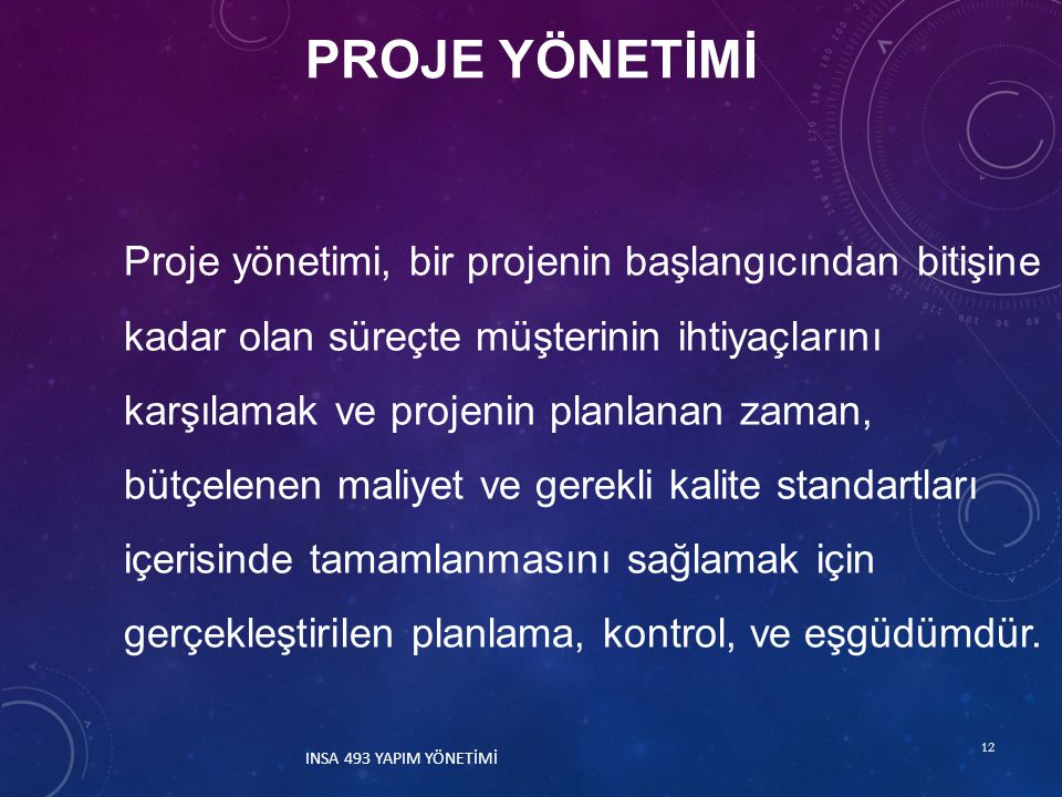 PROJE YÖNETİMİ 12 Proje yönetimi, bir projenin başlangıcından bitişine kadar olan süreçte müşterinin ihtiyaçlarını karşılamak ve projenin planlanan za