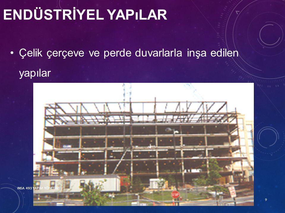 ENDÜSTRİYEL YAPıLAR Çelik çerçeve ve perde duvarlarla inşa edilen yapılar 9 INSA 493 YAPIM YÖNETİMİ