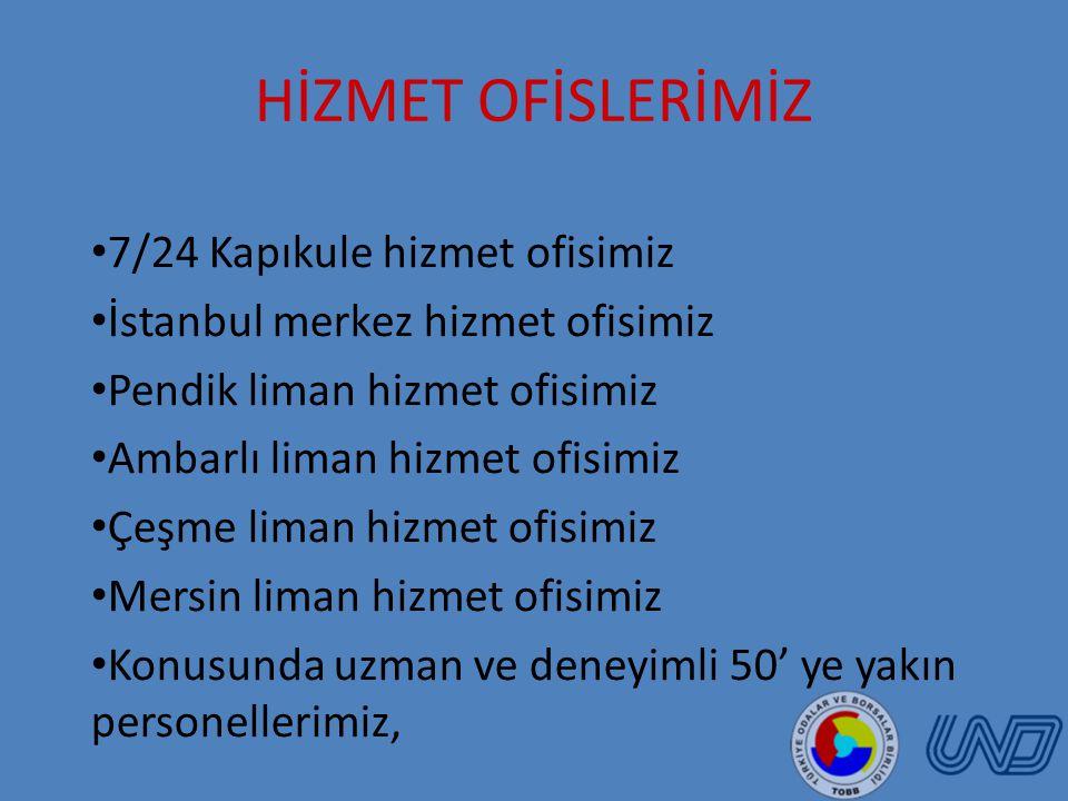 HİZMET OFİSLERİMİZ 7/24 Kapıkule hizmet ofisimiz İstanbul merkez hizmet ofisimiz Pendik liman hizmet ofisimiz Ambarlı liman hizmet ofisimiz Çeşme liman hizmet ofisimiz Mersin liman hizmet ofisimiz Konusunda uzman ve deneyimli 50' ye yakın personellerimiz,