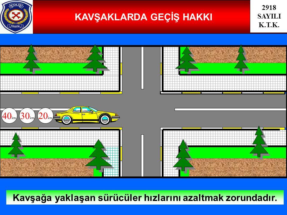 33 KAVŞAKLARDA GEÇİŞ HAKKI Kavşağa yaklaşan sürücüler hızlarını azaltmak zorundadır. 40 km 30 km 20 km 2918 SAYILI K.T.K.