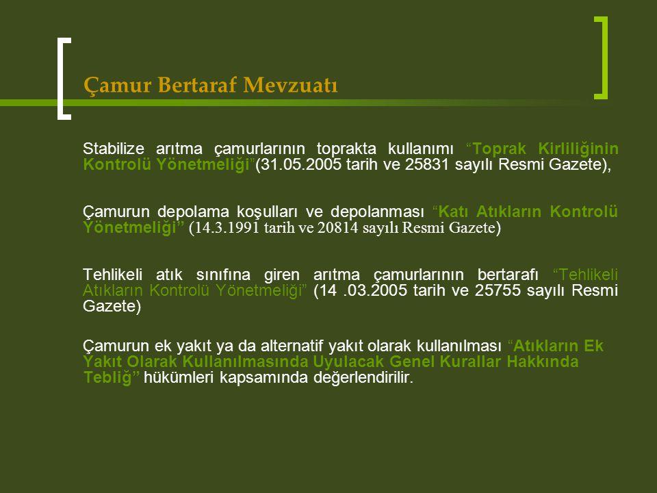 """Çamur Bertaraf Mevzuatı Stabilize arıtma çamurlarının toprakta kullanımı """"Toprak Kirliliğinin Kontrolü Yönetmeliği""""(31.05.2005 tarih ve 25831 sayılı R"""