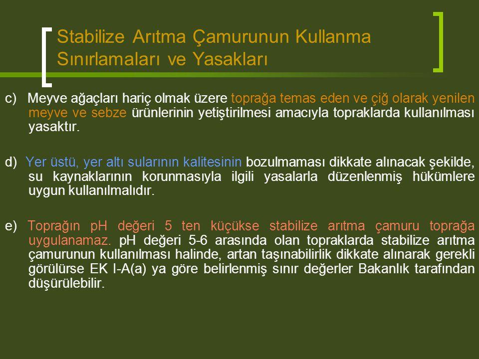 Stabilize Arıtma Çamurunun Kullanma Sınırlamaları ve Yasakları c) Meyve ağaçları hariç olmak üzere toprağa temas eden ve çiğ olarak yenilen meyve ve s