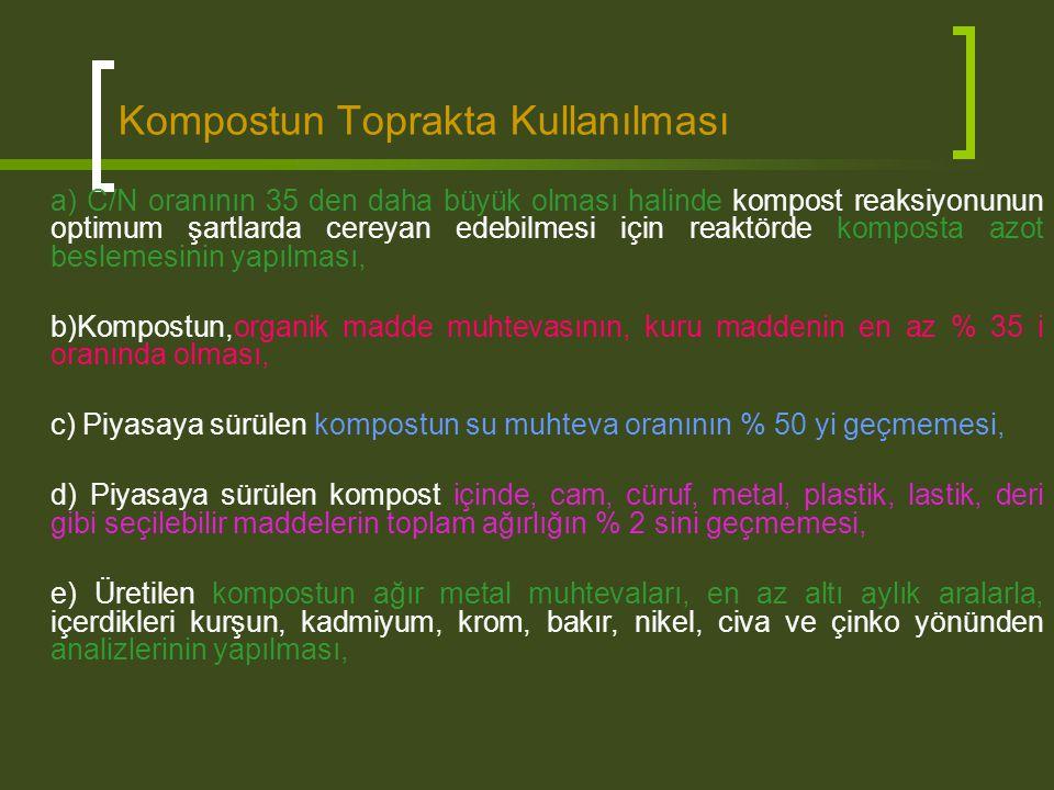 Kompostun Toprakta Kullanılması a) C/N oranının 35 den daha büyük olması halinde kompost reaksiyonunun optimum şartlarda cereyan edebilmesi için reakt