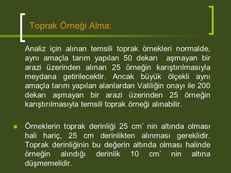 Toprak Örneği Alma: Analiz için alınan temsili toprak örnekleri normalde, aynı amaçla tarım yapılan 50 dekarı aşmayan bir arazi üzerinden alınan 25 ör