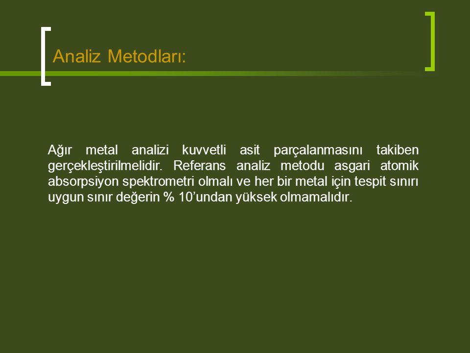 Analiz Metodları: Ağır metal analizi kuvvetli asit parçalanmasını takiben gerçekleştirilmelidir. Referans analiz metodu asgari atomik absorpsiyon spek