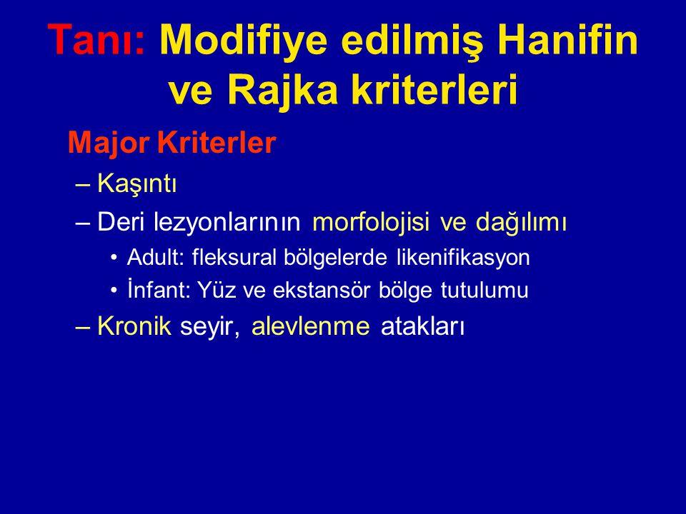 Tanı: Modifiye edilmiş Hanifin ve Rajka kriterleri Major Kriterler –Kaşıntı –Deri lezyonlarının morfolojisi ve dağılımı Adult: fleksural bölgelerde li