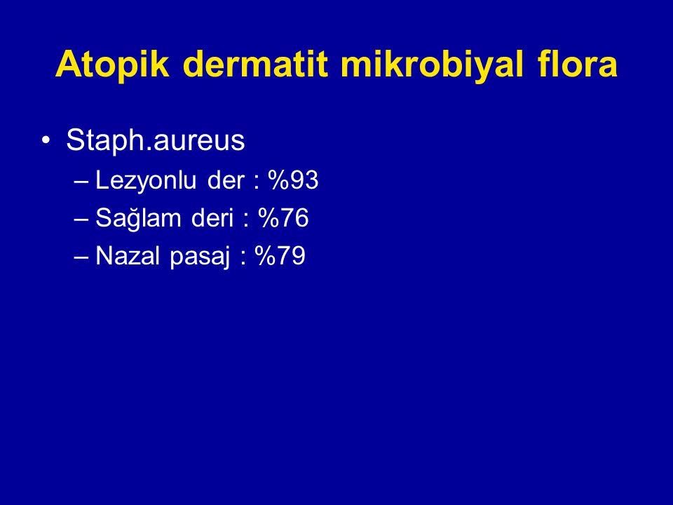 Atopik dermatit mikrobiyal flora Staph.aureus –Lezyonlu der : %93 –Sağlam deri : %76 –Nazal pasaj : %79