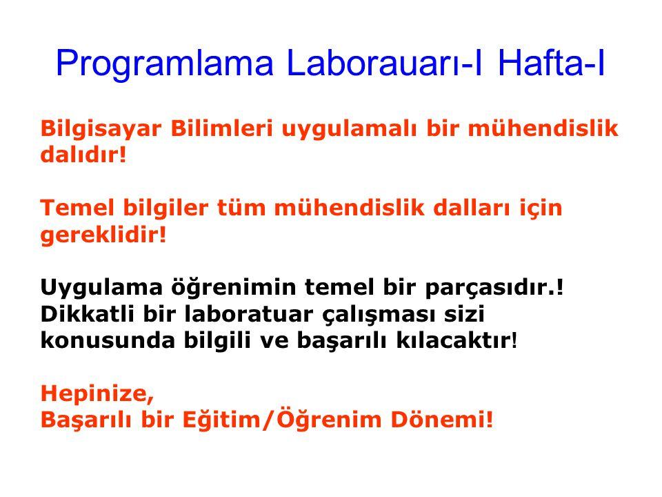 Programlama Laborauarı-I Hafta-I Bilgisayar Bilimleri uygulamalı bir mühendislik dalıdır! Temel bilgiler tüm mühendislik dalları için gereklidir! Uygu