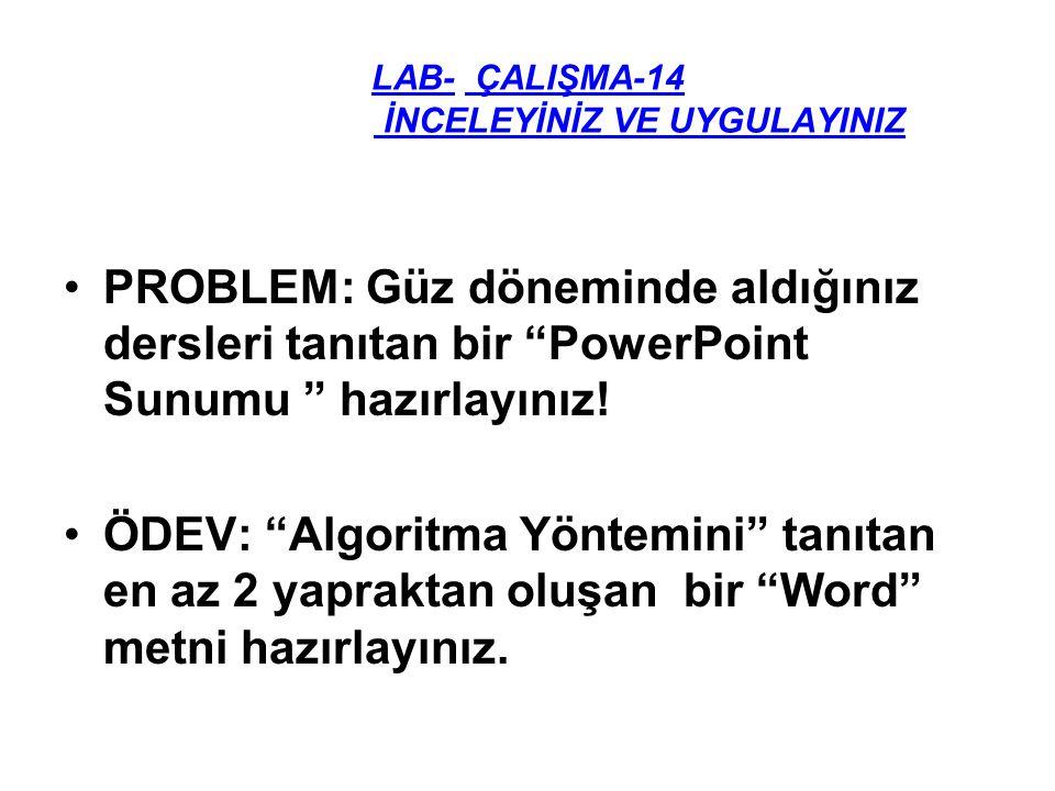"""LAB- ÇALIŞMA-14 İNCELEYİNİZ VE UYGULAYINIZ PROBLEM: Güz döneminde aldığınız dersleri tanıtan bir """"PowerPoint Sunumu """" hazırlayınız! ÖDEV: """"Algoritma Y"""