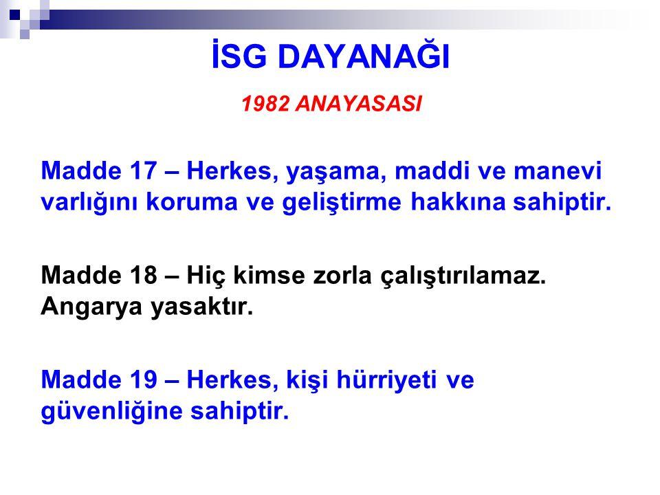 İSG DAYANAĞI 1982 ANAYASASI Madde 49 – Çalışma, herkesin hakkı ve ödevidir.