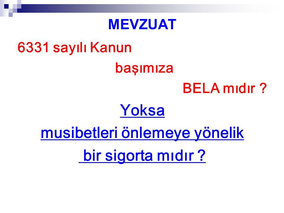 MEVZUAT 6331 sayılı Kanun 30 Haziran 2012 tarihli RG'de yayımlanmıştır.