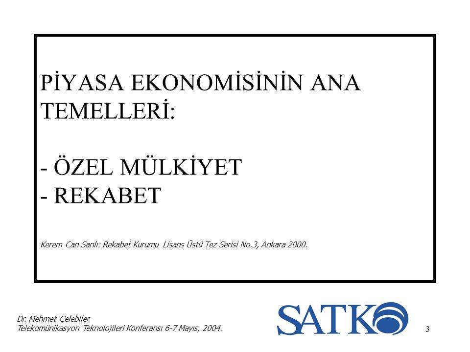 3 PİYASA EKONOMİSİNİN ANA TEMELLERİ: - ÖZEL MÜLKİYET - REKABET Kerem Can Sanlı: Rekabet Kurumu Lisans Üstü Tez Serisi No.3, Ankara 2000. Dr. Mehmet Çe